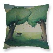 Bunnies Running Under Trees Throw Pillow