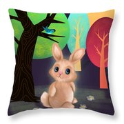 Bunny And Birdie Throw Pillow