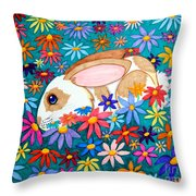 Bunny And Flowers Throw Pillow