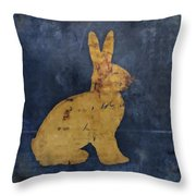 Bunny In Blue Throw Pillow by Carol Leigh