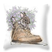 Bunny In Boot Throw Pillow