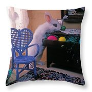 Bunny In Small Room Throw Pillow
