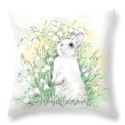 Bunny In White Throw Pillow