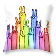 Bunny Rainbow Pattern Throw Pillow