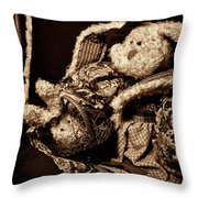 Bunny With Her Bunny - Sepia Throw Pillow