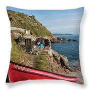 Bunty In Priest's Cove Cape Cornwall Throw Pillow