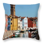 Burano An Island Of Multi Colored Homes On Canals North Of Venice Italy Throw Pillow