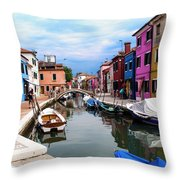 Burano Canal And Homes Throw Pillow