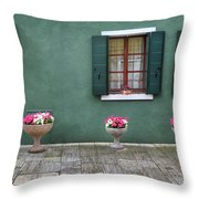 Burano Green Throw Pillow