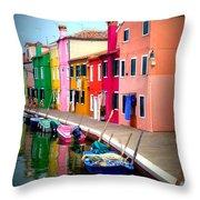 Burano Island No 6 Throw Pillow