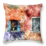 Burano Italy Digital Watercolor On Photograph Throw Pillow