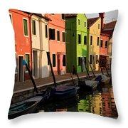 Burano Reflections Throw Pillow