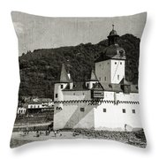Burg Pfalzgrafenstein Aged Throw Pillow