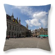 Burg Square In Bruges Belgium Throw Pillow