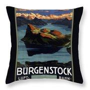 Burgenstock - Lake Lucerne - Switzerland - Retro Poster - Vintage Travel Advertising Poster Throw Pillow