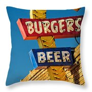 Burgers And Beer Throw Pillow