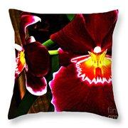 Burgundy Orchids Throw Pillow