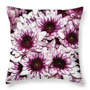 Burgundy White Crysanthemums Throw Pillow