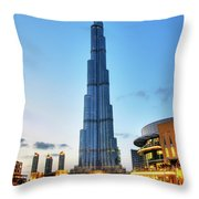 Burj Khalifa Sunset Throw Pillow