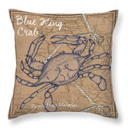 Burlap Blue Crab Throw Pillow
