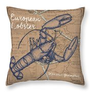 Burlap Lobster Throw Pillow
