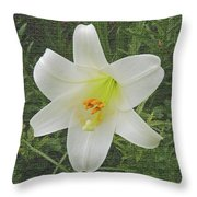 Burlap Textured Easter Lily Throw Pillow