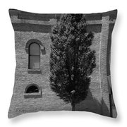 Burlington, North Carolina Sidewalk Bw Throw Pillow