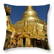 Burma's Golden Pagoda Throw Pillow