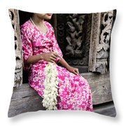 Burmese Flower Vendor Throw Pillow
