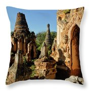 Burmese Pagodas In Ruins Throw Pillow