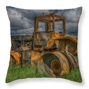 Burned Out Farm Tractor Throw Pillow