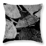 Burned Wood In The Pile Throw Pillow