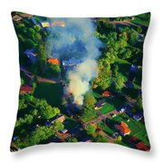 Burnin Down The House Aerial Single Family Home On Fire  Throw Pillow