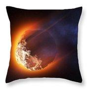 Burning Asteroid Entering The Atmoshere Throw Pillow