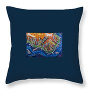 Burning City Throw Pillow