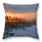Burning Grasses And The Fence Throw Pillow