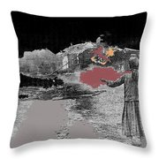 Burning House Destroyed By The Ss Soviet Union Number One 1941 Color Added 2016 Throw Pillow