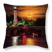 Burning Moon Rising Over Jupiter Lighthouse Throw Pillow