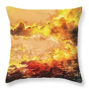 Burning Shore Throw Pillow