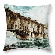 Burnt Covered Bridge Throw Pillow