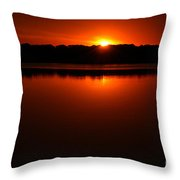 Burnt Orange Sunset On Water Throw Pillow