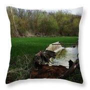 Burnt Out Boat Throw Pillow
