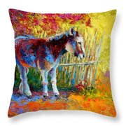 Burro And Bouganvillia Throw Pillow