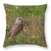 Burrowing Owl And Flowers Throw Pillow