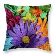 Bursting Colors Throw Pillow
