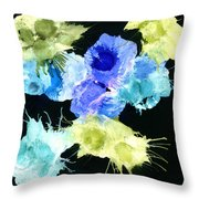 Bursting Comets 2017 - Blue And Green On Black Throw Pillow