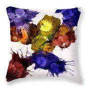 Bursting Comets 2017 - Yellow And Purple On White Throw Pillow
