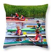 Burton Canoe Race At The Start Throw Pillow