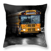Bus Of Darkness Throw Pillow