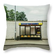 Bus Stop In Poland Throw Pillow